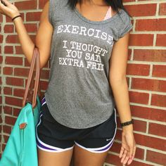 What Nicole Wore: a Louisville lifestyle blog // graphic tee + nike shorts + longchamp tote