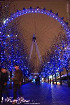 Beautiful blue London Eye Ferris Wheel by night - Millennium Wheel at River Thames - near Jubilee Gardens and Westminster Bridge - London, UK, Great Britain