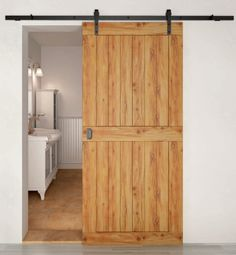 Henderson Rustic 80 barn style sliding door gear [www.sliding-doorstuff.co.uk]. Dont need it to be rustic but do want the rails showing with simple panelled doors hanging off for pantry and utility