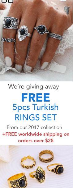 FREE 5pcs Turkish Vintage Ring Sets