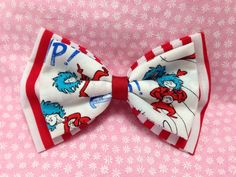 Dr. Seuss Thing 1 and Thing 2 Stacked Double Hair Bow