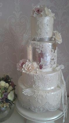 Silver leaf and lace by www.prettyamazingcakes.co.uk (West Weddings winter 2014)