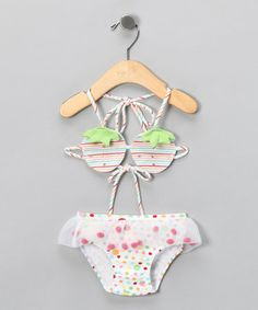 This tiny bikini is the perfect piece for itty-bitty sunbathers. Made from comfy cotton with spandex for stretch, this stylish suit is sure to win our vote for best dressed.