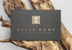 Custom Logo Design, Gold Foil Logo, Architect Logo, BH Monogram Logo, Interior Designer Logo