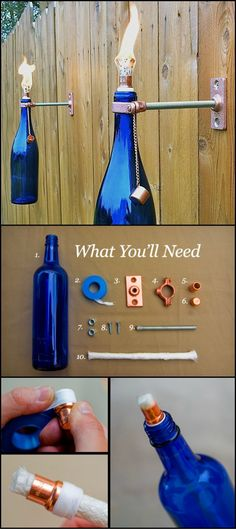 How To Build A Glass Bottle Torch http://theownerbuildernetwork.co/7sct This DIY project is like hitting not two, but three birds with one stone. You get to decorate your patio with your empty wine (Diy Art Projects)