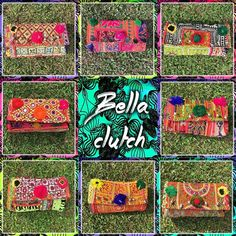 MAS Y MAS BELLAS CLUTCHES ❤️ #baiga #bags #bella #clutch #color #hindu #indian #telas #tejidos #pompones #bordados #trendy #beuty #grass #green #red #pink #blue #yellow #fashion