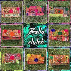MAS Y MAS BELLAS CLUTCHES ❤️ #baiga #bags #bella #clutch #color #hindu #indian #telas #tejidos #pompones #bordados #trendy #beuty #grass #green #red #pink #blue #yellow #fashion