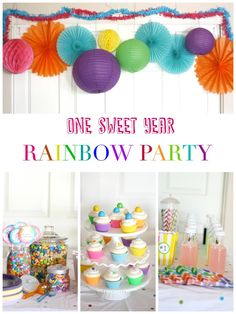 """One sweet year"" rainbow birthday party with candy bar 1 Year Old Birthday Party, Twin Birthday Parties, Baseball Birthday Party, Girl Birthday Themes, Birthday Candy, Birthday Ideas, Rainbow First Birthday, Rainbow Parties, Rainbow Theme"