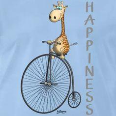Lustiges Cartoon Comic mit Giraffe Wild Life, Comics Und Cartoons, Baby T Shirts, Safari, Bicycle, Babys, Happy, Happiness, Funny Cartoons