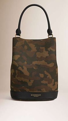 The Bucket Bag in Camouflage Print Suede