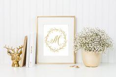 Monogram Print, Letter Print, Gold Prints, Initial Print, Calligraphy Print, Gold Decor, Gold Nursery, Nursery Monogram, Personalized Print by printshopstudio on Etsy