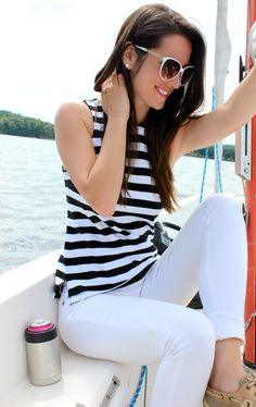 Banana Republic rugby stripe tank top with white skinny jeans and classic Sperry boat shoes. Such a perfect summer or Labor Day outfit idea for women!