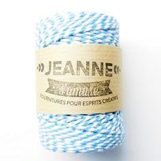 """1 bobine de 50 m corde """"baker's twine"""",  bleu ciel et…"""