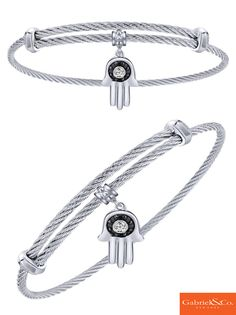 A beautiful silver and stainless steel multi color stone charm bangle from Gabriel & Co. Stay calm and peaceful with this amazing bracelet to show your love for fitness and fashion!