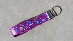 Handcrafted Purple Floral Key Chain Wristlet NEW