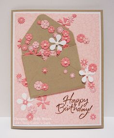 Glitter, Stamps, and Ink (Oh My.): Envelope of Flowers - Bastel Ideen / cards - Birthday Cards For Women, Handmade Birthday Cards, Greeting Cards Handmade, Female Birthday Cards, Birthday Cards To Make, Card Birthday, Cards Diy, Paper Cards, Pretty Cards