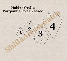 Molde - Orelhas -  Porta Recado Porquinha Com ìmãs