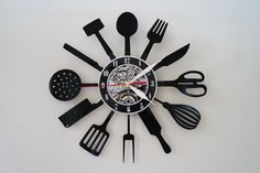 Kitchen design vinyl record wall clock