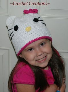26c6ac2bb77 Free Crochet Hello Kitty Hat pattern.. Crochet Girls