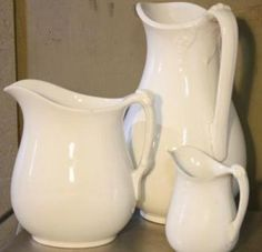Ironstone Pitchers ( Quintessestial  Antiques) they usually have a bit of ironstone & at great prices
