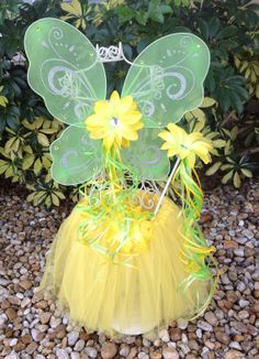 Yellow Tutu Yellow Fairy Green Fairy Wand by partiesandfun on Etsy, $21.00, This would be great for the bday girl to wear so to give as favors for your next event.