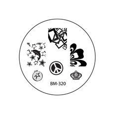 2012 Nail Stamping Plate BM320 - Rectangle Mess + Dolphin Stars - Amei a composição de retângulos #bundlemonster  #shopbm