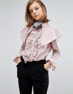 ASOS Sister Jane Blouse With Ruffles And Shoulder Details