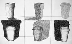 Stippling, Hatching, Scribble techniques and using denser hatching in the background to render the tonal values of the coffee cup