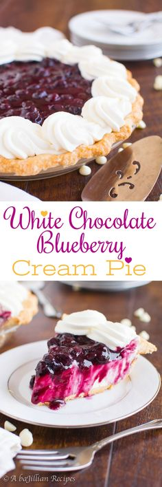 White Chocolate Blueberry Cream Pie - A baJillian Recipes(collage)