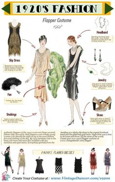 Step by step guide to dressing in a quality authentic flapper costume. Wit… Step by step guide to dressing in a quality authentic flapper costume. With handy infographic to help you dance into the roaring twenties. Flapper Outfit, 1920s Flapper Costume, Flapper Girls, Flapper Fashion, Fashion 1920s, Fashion Fashion, Roaring 20s Fashion, Dress Fashion, Roaring 20s Makeup