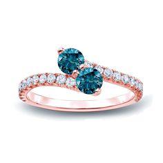 Auriya 14k Gold 1/2ct TDW Round-cut Blue Diamond 3-prong, 2-stone Engagement Ring (Blue, I1-I2) (Rose Gold - Size 9), Women's, Pink
