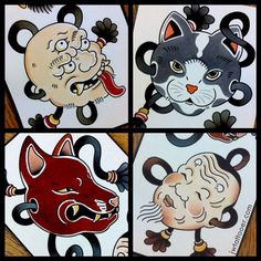 Some masks from a while ago #blueblood #thebluebloodstudios #mask #cat #noh…