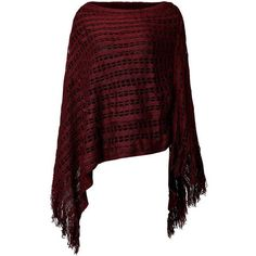 Women Solid Color Hollow Out Tassel Poncho Cloak Sweater ❤ liked on Polyvore featuring red poncho and poncho