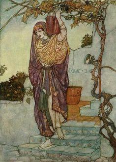 """Came shining through the Dusk an Angel Shape"", illustration by Edmund Dulac for The Rubaiyat of Omar Khayyam. (1925)"
