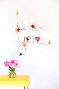 Floral and wire word