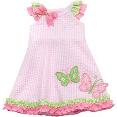 Rare Editions 12 18 24 2T 3T 4T Butterfly Seersucker Sundress Baby Girl Dress