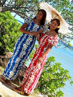 Gorgeous floral panels highlight the beauty of this Hawaiian dress. Ruffled sleeves can be worn on shoulder or off. Side slit shows a hint of sexy leg. Made in Hawaii with the feminine silhouette in mind. Cute Floral Dresses, Floral Maxi Dress, Tahiti, Hawaiian Costume, Luau Outfits, Summer Outfits, Hawaiian Fashion, Hawaii Dress, Ladies Party