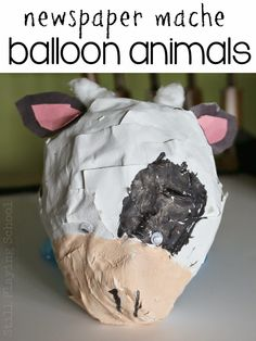 Recycled Newspaper Paper Mache Balloon Animal Craft for Kids from Still Playing School