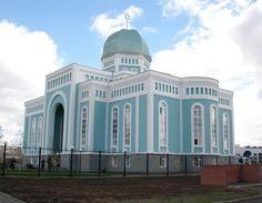 """The new synagogue in Astana Kazakhstan. Photo by Jewish Center of Kazakhstan """"Chabad Lubavitch Temples, Jewish Synagogue, Religious Architecture, Synagogue Architecture, Houses Of The Holy, Blue Building, Jewish History, World Religions, Largest Countries"""