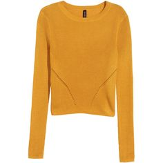 H&M Fine-knit jumper ($20) ❤ liked on Polyvore featuring tops, sweaters, mustard yellow, mustard yellow sweater, jumpers sweaters, short sweater, pattern sweater and long sleeve sweaters