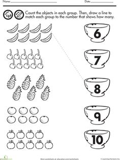 On this worksheet, kids count up each type of fruit then draw a line to connect them to the fruit basket with the right number.