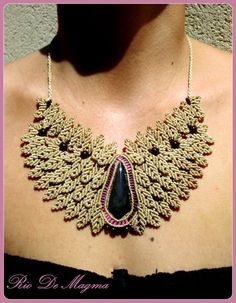 One of a Kind Nude / Beige Macrame Necklace with by RioDeMagma