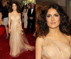 natural make up. hair down. Salma Hayek at the 2011 Met Gala