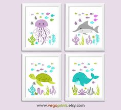 Purple, green and turquoise Nautical nursery art print set -UNFRAMED- baby girl… Gold Baby Nursery, Mermaid Nursery, Nautical Nursery, Nursery Art, Girl Nursery, Nursery Ideas, Bohemian Nursery, Room Ideas, Baby Art
