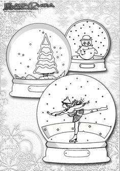 Weihnachten Ausmalbild - Weihnachts-Malbild Schneekugeln