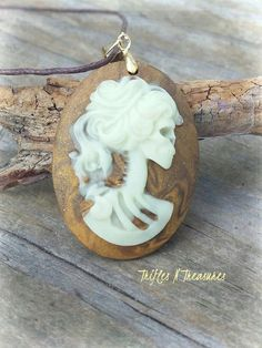 Glow in the Dark Polymer Clay Lolita Lady Cameo Pendant Necklace~Old Gold Marble by TNTPatterns on Etsy
