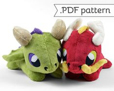 **THIS IS FOR A SEWING PATTERN, IT IS NOT FOR A FINISHED PLUSH** ⌠ dragon plush .pdf pattern ⌡ This listing is for a .pdf instant download of a