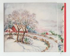 Vintage-Winter-Road-By-Farm-Christmas-Greeting-Card