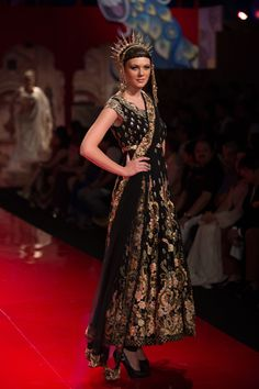 Suneet Varma Black #Anarkali With Gold Lace Embroidery At BMW IBFW 2014.