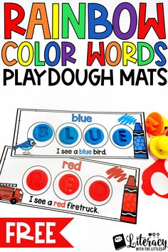Are your little readers working on learning color words?  Get these printable color word mats for FREE!  Perfect for a hands-on playdough center.  Great for morning tubs or as an engaging literacy center.  Perfect for preschool, Kindergarten or First Grade.  Play-doh is wonderful for kinesthetic learners.
